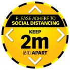 5 x Social Distance Warning Circle - Yellow/Black